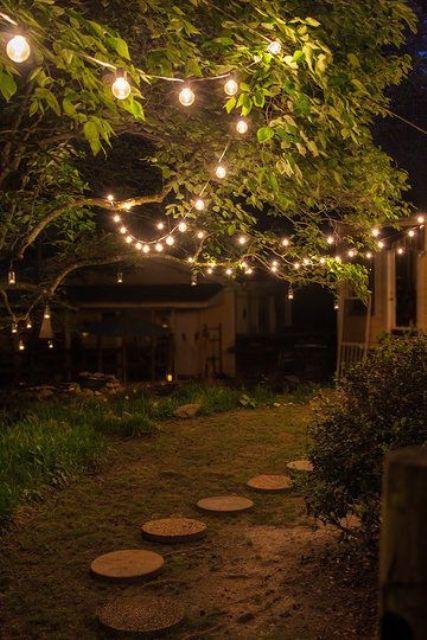 le luci delle corde appese proprio sugli alberi renderanno il tuo giardino magico e bello
