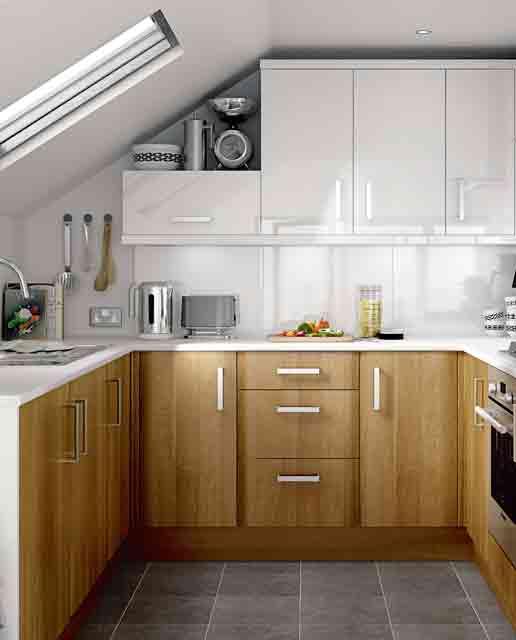 una piccola cucina bicolore con maniglie importanti, ripiani bianchi e un elegante alzatina bianca