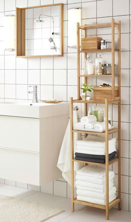 uno scaffale Ragrund di IKEA sarà un'opzione perfetta per un bagno moderno o contemporaneo