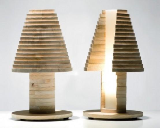 una moderna lampada da tavolo in legno a forma di fungo o albero darà un tocco naturale alla tua stanza