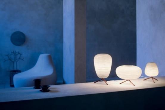 mini lampade da tavolo creative con paralumi di carta ricordano le tradizionali lanterne asiatiche