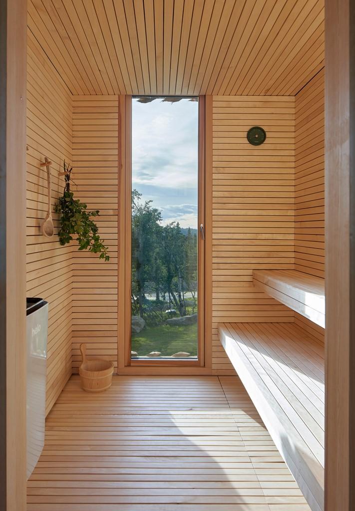 C'è una sauna che dispone di un ingresso vetrato per godersi il panorama mentre si soggiorna qui
