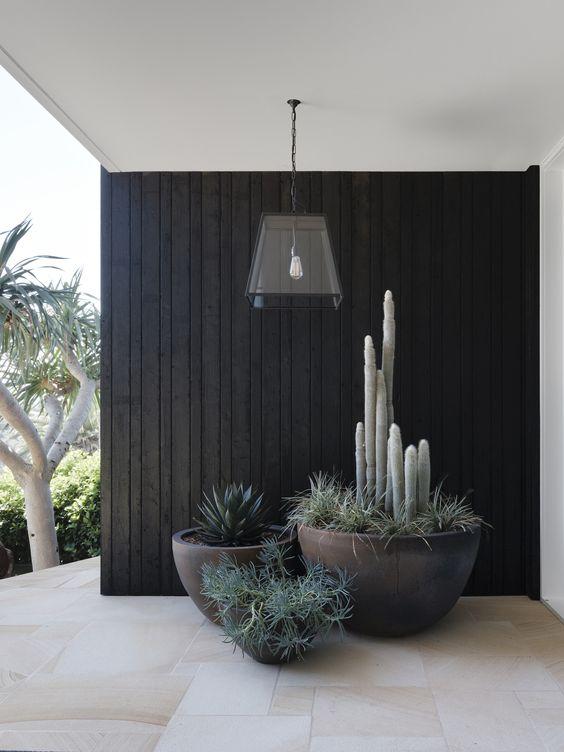 le fioriere nere a forma di ciotola con varie piante daranno un aspetto moderno alla tua veranda o al tuo cortile