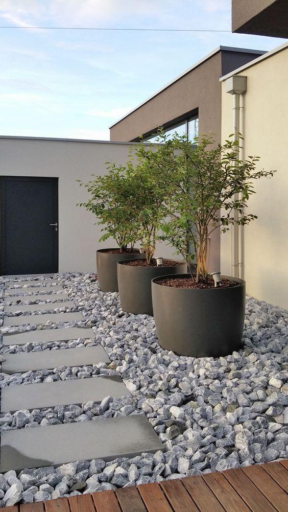 fioriere a tazza nera sovradimensionate come queste possono ospitare un intero albero e dare una sensazione spigolosa allo spazio