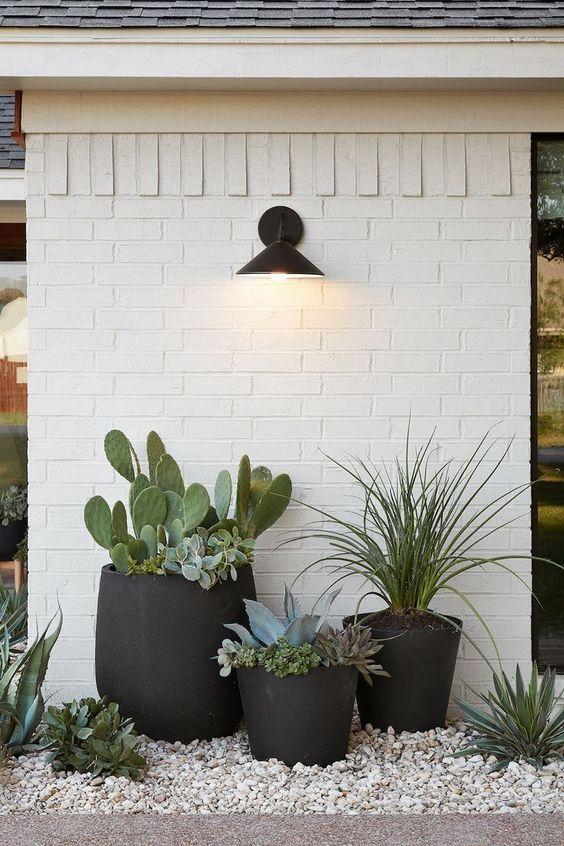 eleganti fioriere nere di tazza e forme tradizionali, ma quelle oversize sono accattivanti e molto creative