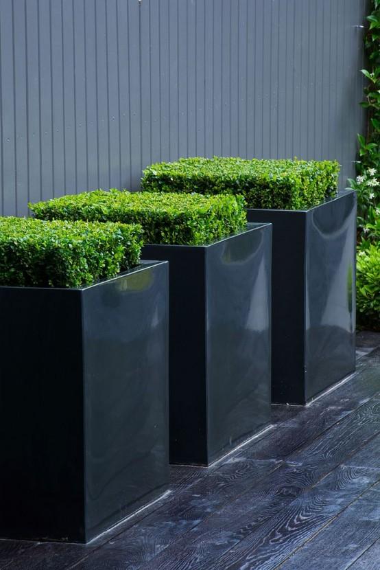 le fioriere quadrate nere super eleganti con vegetazione a taglio quadrato daranno sicuramente un tocco fresco e moderno