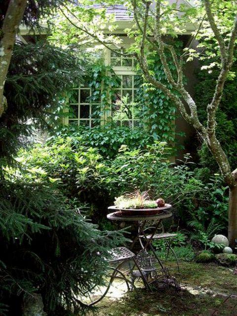 un piccolo e rigoglioso giardino con tanto verde ovunque e arbusti di vario genere, con alcuni mobili in metallo vintage