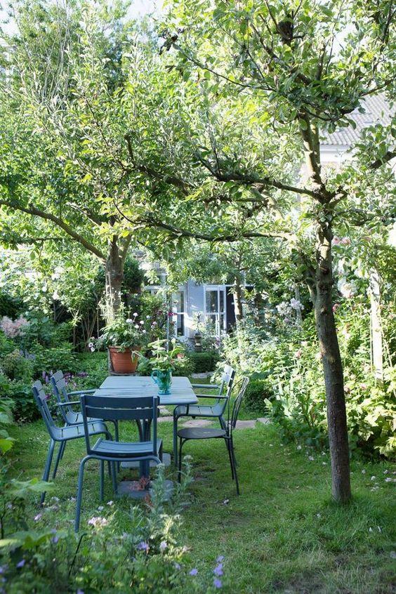 un piccolo giardino con un prato verde, alcuni alberi, molti arbusti, alberi e un set da pranzo da giardino blu più fiori