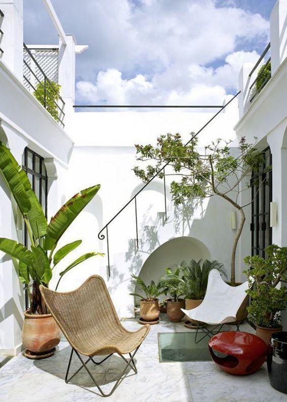 un minuscolo cortile interno con piante in vaso e un albero, una lanterna a candela rossa, alcune sedie a farfalla e molta luce naturale