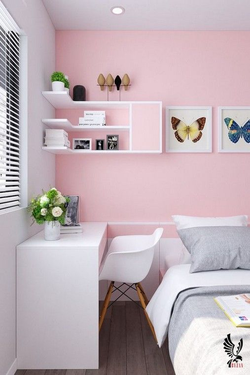 il rosa abbinato a bianchi brillanti rende la stanza audace e molto accattivante, una tale combinazione è molto rinfrescante