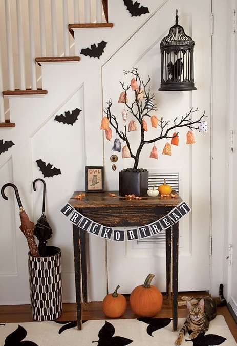 un ingresso di Halloween con pipistrelli, un merlo in gabbia, zucche arancioni, un pavese bianco e nero, un albero di Halloween con ornamenti