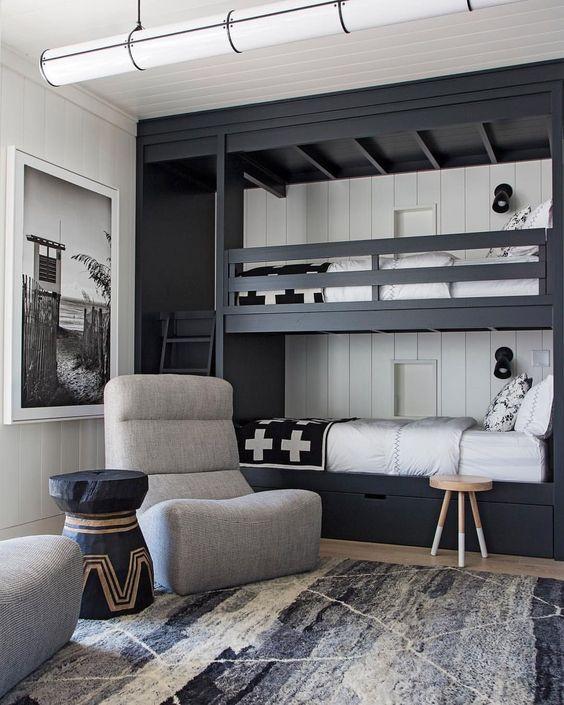 letti a castello grigio grafite con scala, lampade da parete e battiscopa bianco sul muro per far risaltare i letti