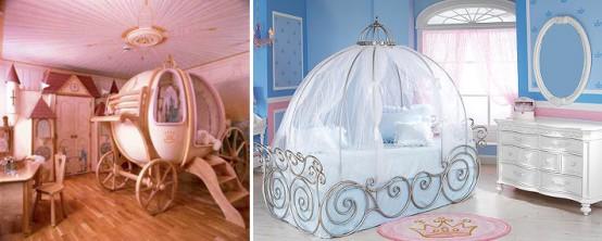 una cameretta a tema principesse realizzata in due modi: rosa o blu, con un letto da carrozza e raffinati mobili bianchi