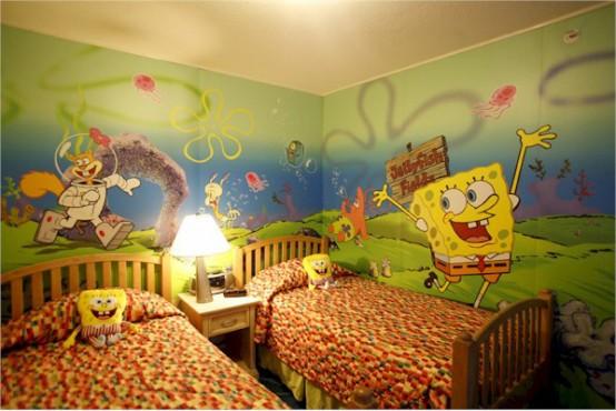 La cameretta condivisa a tema Sponge Bob è molto colorata e luminosa e sarà amata da chi ama i cartoni animati