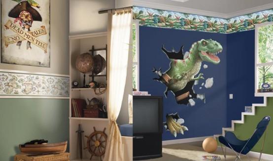un dinosauro incontra la stanza del ragazzo dei pirati in blu navy, verde, bianco e con decorazioni appropriate di entrambe le parti