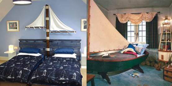 due modi per decorare una stanza dei bambini ispirata al mare: aggiungere barche e vele in modi diversi