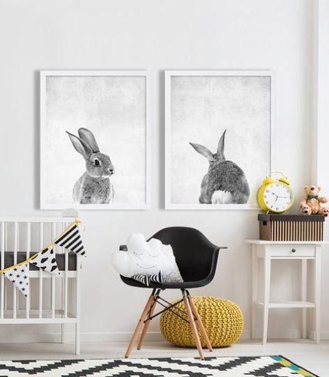 i ritratti di coniglio alla moda sono un'idea divertente che si adatta a qualsiasi cameretta, per un ragazzo o una ragazza