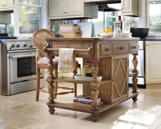 un'isola da cucina in legno intagliato e tinto super elegante con cassetti e supporti porterà un tocco rustico e vintage allo spazio