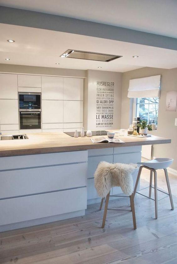 una cucina scandinava glam con armadi eleganti, un'isola cucina con ripiano in legno, sgabelli in legno e luci