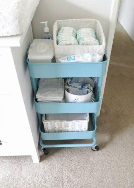 un carrello Raskog blu di IKEA è un organizzatore molto popolare anche per asili nido e altre stanze