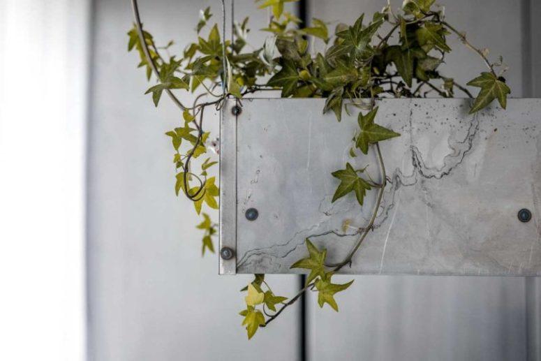 Molta vegetazione è stata integrata nell'arredamento degli appartamenti per rinfrescare il metallo