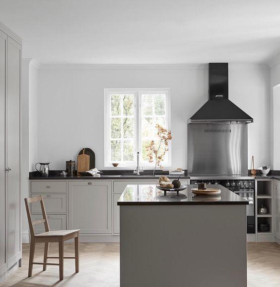 una cucina contemporanea con armadi grigi e piano di lavoro neri più un alzatina in metallo lucido