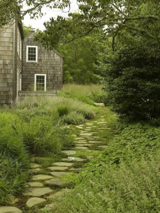 un sentiero gardne nautico in pietra grezza con vegetazione che cresce tra le rocce sembra rilassante e calmante e si abbina al verde