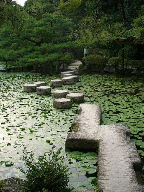 vialetto giardino zen fatto di pietre lucide e circolari proprio nello stagno sembra spettacolare e fresco