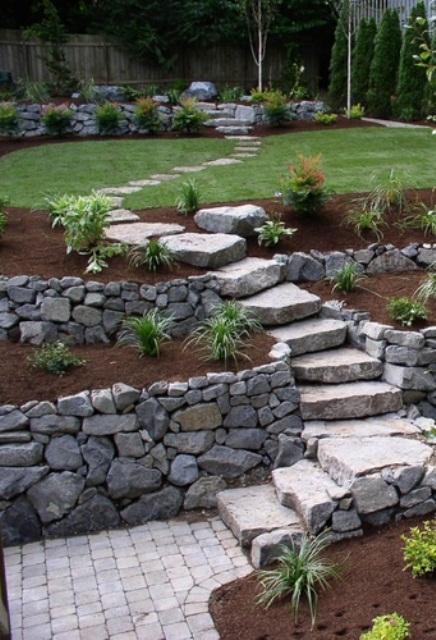 camminamento giardino in pietra con muri in pietra intorno e diverse fioriere con varie piante