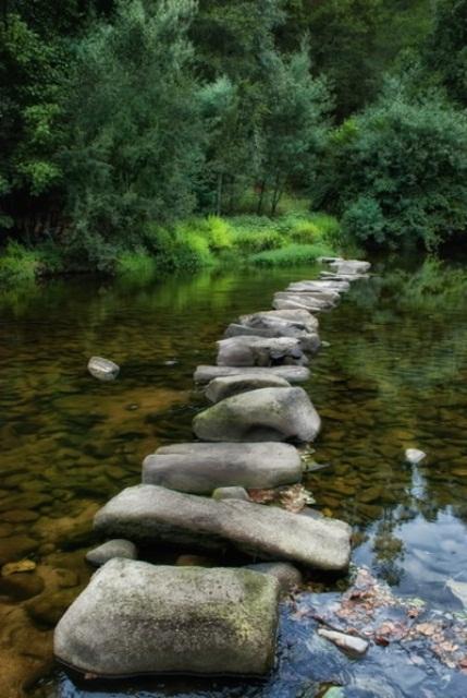 un grande sentiero da giardino in pietra creato proprio nella fontana - anche se non lo usi, è molto accattivante