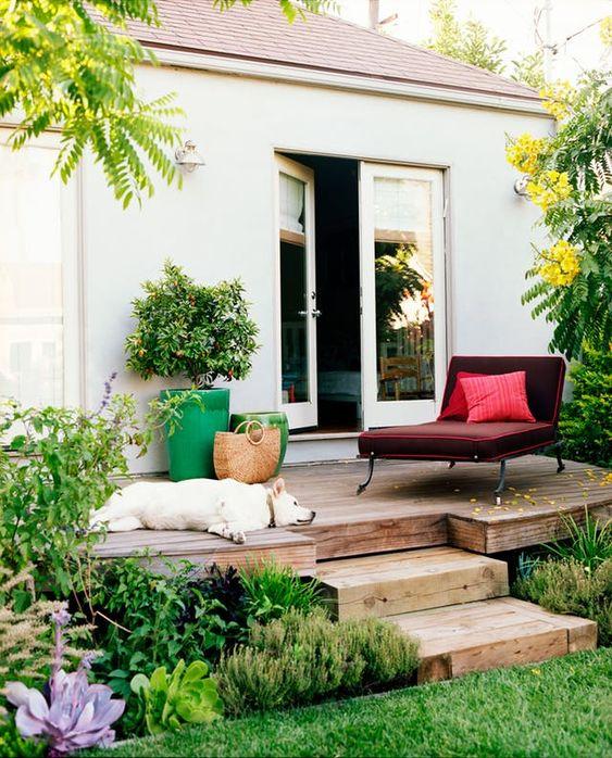 un piccolo terrazzo scoperto con un comodo lettino bordeaux, un paio di fioriere luminose e un cucciolo rilassato