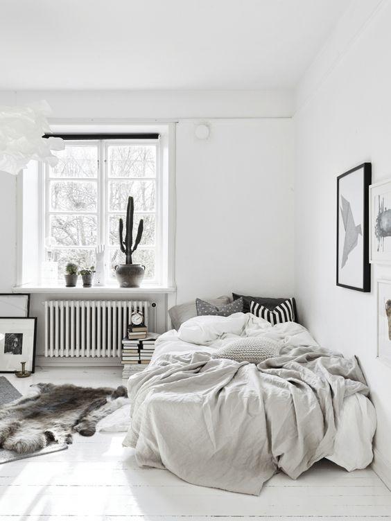 una camera da letto nordica monocromatica con alcuni cactus in vaso, un letto in un angolo, libri e opere d'arte