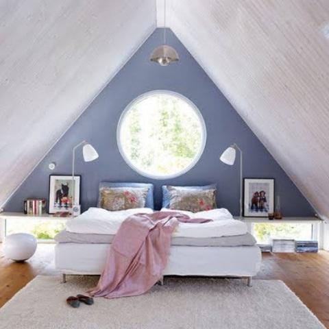 una camera da letto mansardata con pareti blu e grigie, soffitta in legno, un letto bianco, un tappeto e alcuni lucernari e finestre