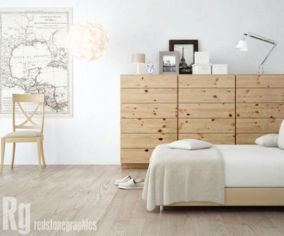 una camera da letto nordica con una credenza in legno, un letto imbottito, una mappa, lampade e una sedia