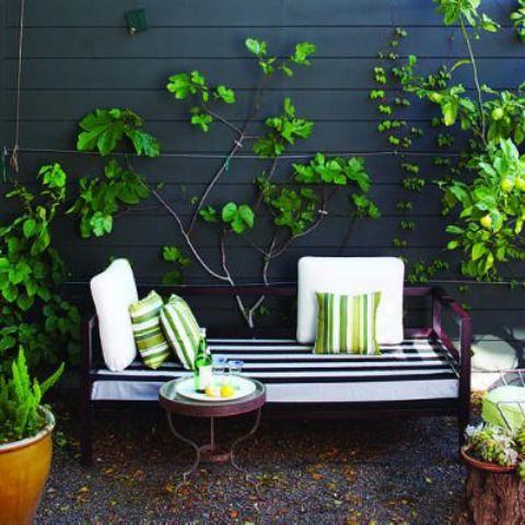 un terrazzino chic e luminoso con una panca imbottita viola, un tavolino e molto verde nelle fioriere e sulle pareti
