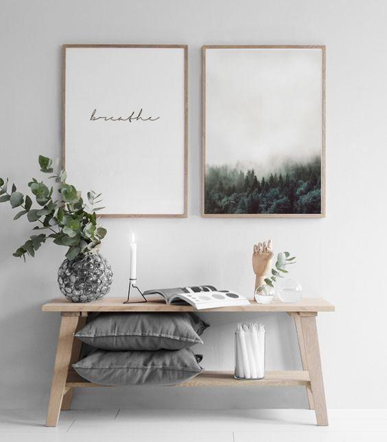 opere d'arte moderne ispiratrici ed eleganti sopra la panchina per aggiungere un tocco di calma all'ingresso e dare il tono