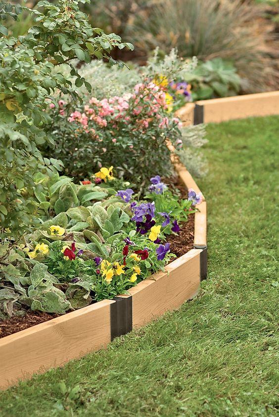 Il bordo da giardino girevole in legno in una tonalità chiara contrasta con le fioriture luminose che crescono