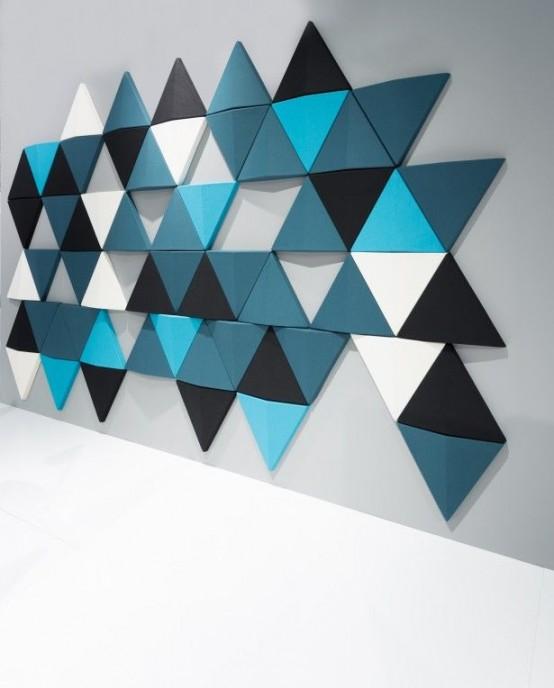 i pannelli acustici triangolari colorati insonorizzano lo spazio e aggiungono accattivante