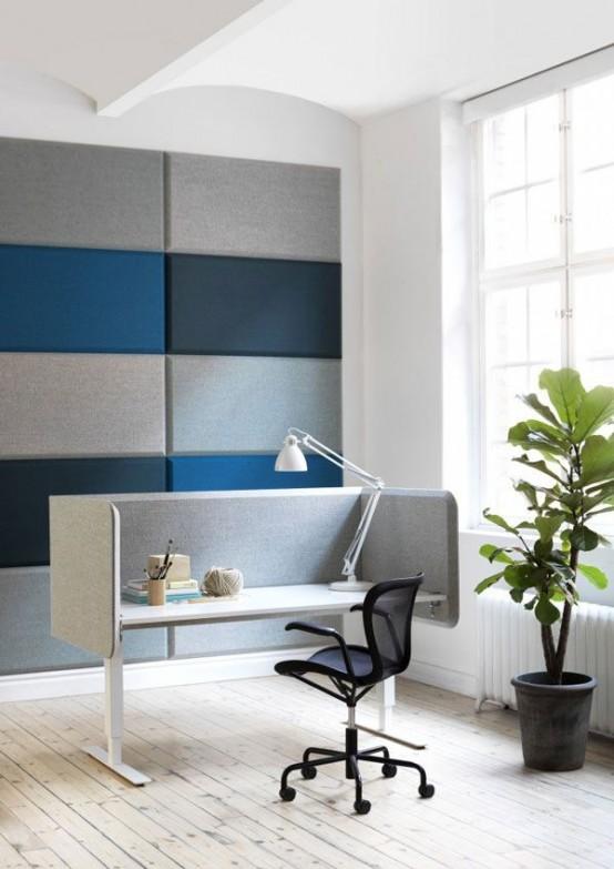 eleganti piastrelle acustiche da parete verde acqua e grigie renderanno la tua stanza insonorizzata e contemporanea
