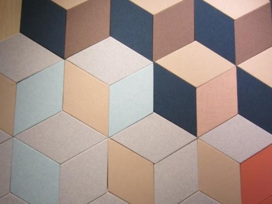 i pannelli geometrici colorati per l'isolamento acustico aggiungeranno alla stanza un'atmosfera e un colore moderni della metà del secolo