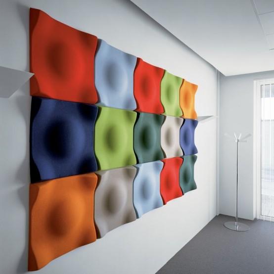 pannelli a parete acustici colorati e scultorei renderanno il tuo spazio molto accattivante