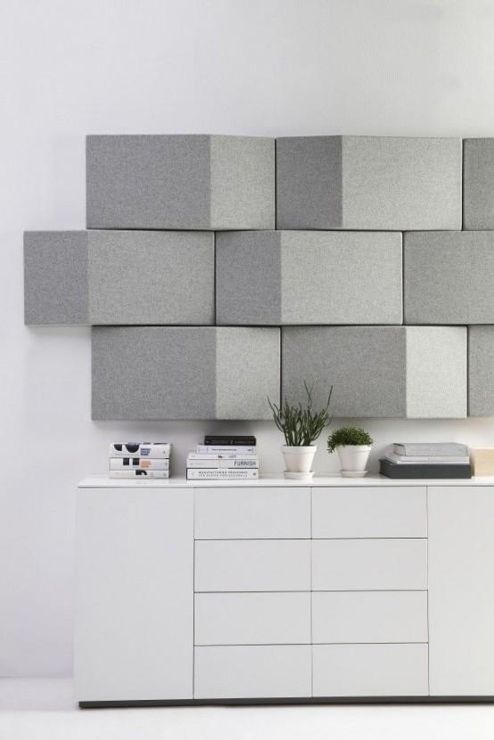 i moderni pannelli acustici geometrici grigi aggiungono un tocco chic allo spazio e lo rendono insonorizzato