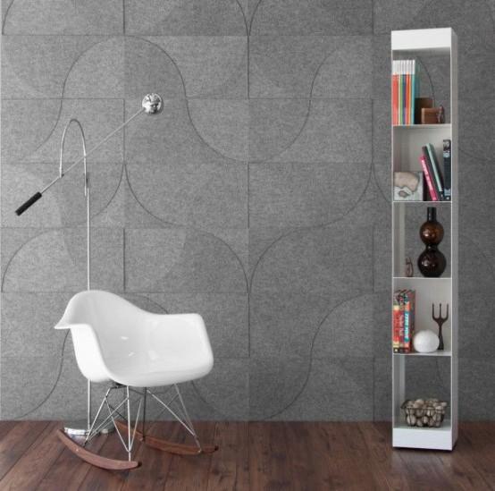 i pannelli fonoassorbenti grigi con un motivo rendono lo spazio più contemporaneo e accattivante