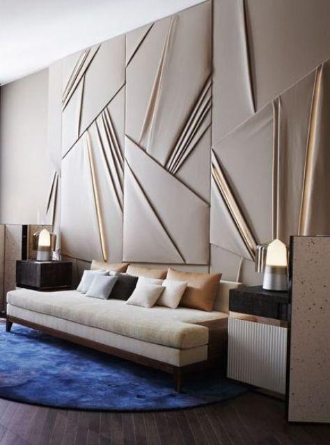 i pannelli fonoassorbenti drappeggiati imbottiti sono una caratteristica di arredo chic per uno spazio così elegante