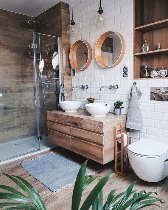 un bagno contemporaneo con tocchi rustici, una parete in legno, un pavimento e un lavabo