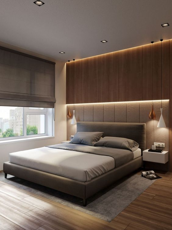 le luci integrate sulla testiera rendono la camera da letto ultra moderna