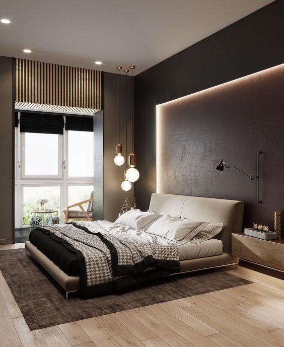 illuminazione interna che incornicia il letto e luci sul soffitto