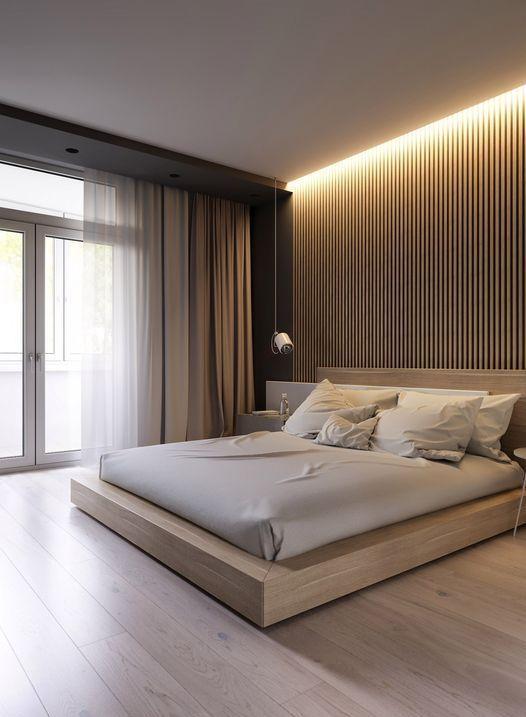 l'illuminazione nascosta sopra il letto è una soluzione molto moderna e audace