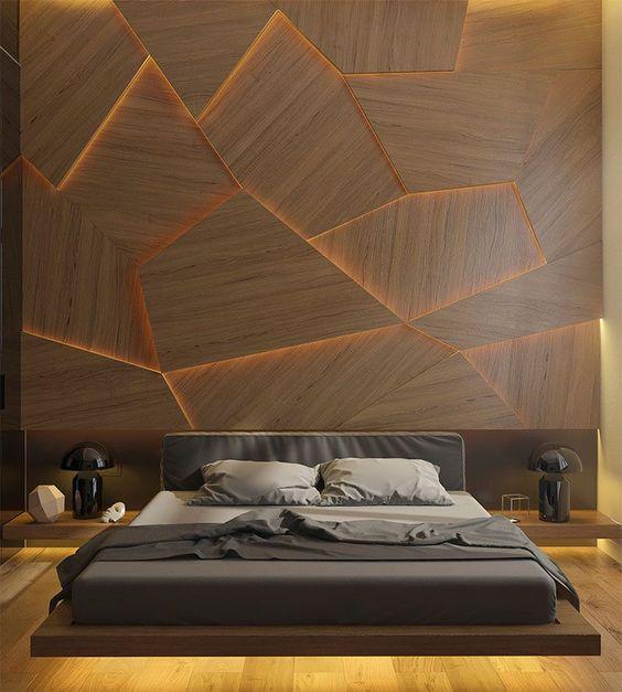 luci interne sotto i comodini e il letto e all'interno del muro di ispirazione artistica accattivante
