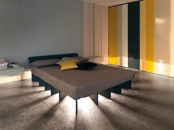 luci sotto il letto e tutt'intorno per un look più moderno